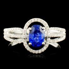 18K Gold 0.861ct Sapphire & 0.32ctw Diamond Ring