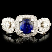 18K Gold 0.90ct Sapphire & 0.91ctw Diamond Ring