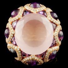 18K Gold 13.16ct Quartz & 2.34ctw Diamond Ring
