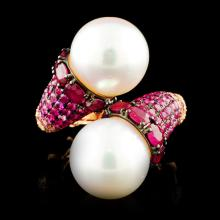 18K Gold 13.00MM Pearl & 0.48ctw Diamond Ring
