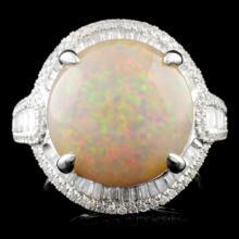18K Gold 11.60ct Opal & 0.78ctw Diamond Ring