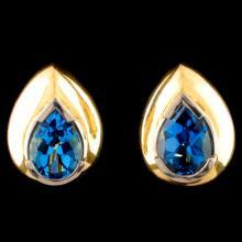 18K Gold 7.60ct Topaz Earrings