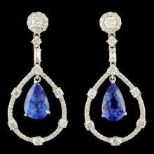 18K Gold 6.53ct Sapphire & 1.79ctw Diamond Earring