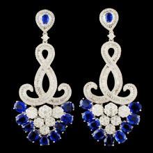 18K Gold 8.93ct Kyanite & 2.99ctw Diamond Earrings