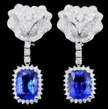 18K Gold 8.24ct Tanzanite & Diamond Earrings