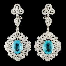 18K Gold 8.40ct Paraiba & 4.52ctw Diamond Earrings