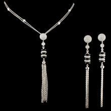 14K Gold Black Onyx & 3.10ctw Diamond Necklace & E