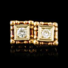 14k Rose Gold .20ctw Diamond Round Antique Screwba