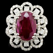 *GIA 18K Gold 6.07ct Ruby & 1.80ctw Diamond Ring