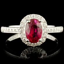 18K Gold 1.21ct Ruby & 0.29ctw Diamond Ring
