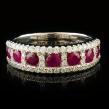 18k White Gold 0.88ct Ruby & 0.39ctw Diamond Ring