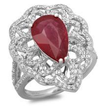 14K Gold 4.00ct Ruby & 0.80ct Diamond Ring