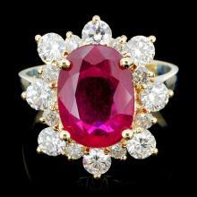 14K Gold 4.00ct Ruby & 1.00ctw Diamond Ring