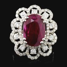 18K White Gold 6.07ct Ruby & 1.80ct Diamond Ring