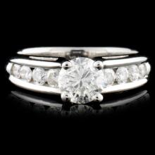 Solid Platinum 0.98ctw Diamond Ring
