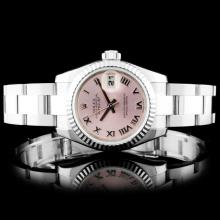 Rolex SS DateJust Pink Roman Ladies Wristwatch 179