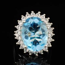 Blue Topaz & White Sapphires 9.66ctw Sterling Silver Ring