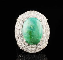White Sapphires & Emerald Ring 14.56ctw Sterling Silver