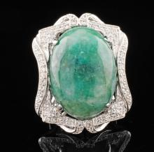 Emerald 30.57ctw & White Sapphires .98ctw Sterling Silver Ring