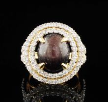 Ruby 12.79CTW & White Sapphires 1.54ctw Sterling Silver Ring