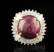 Ruby 22.10CTW & White Sapphires 2.07ctw Sterling Silver Ring