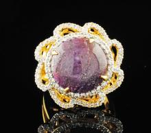 Natural Star Ruby Ring 19.87ctw & Sapphires 1.26ctw Sterling Silver