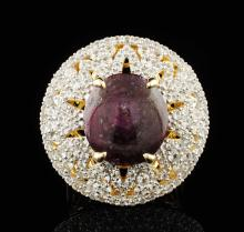 Natural Ruby Ring 21.02ctw & Sapphires 3.90ctw Sterling Silver