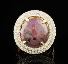 Natural Star Ruby Ring 15.08 ctw & Sapphires 1.02ctw Sterling Silver