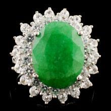 Genuine Emerald Ring Sterling Silver & White Sapphire Gemstones 8.83CTW