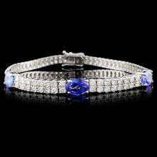 18K Gold 3.96ct Tanzanite & 5.31ct Diamond Bracele