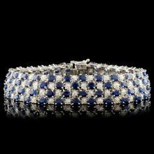14K Gold 24.16ct Sapphire & 1.92ctw Diamond Bracel