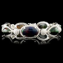 14K Gold 24.62ct Opal & 2.87ctw Diamond Bracelet