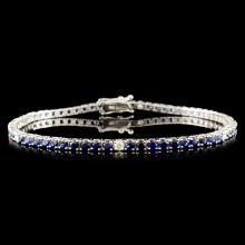 14K Gold 4.02ct Sapphire & 0.29ctw Diamond Bracele