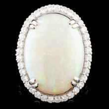 18K Gold 21.00ct Opal & 1.68ctw Diamond Ring
