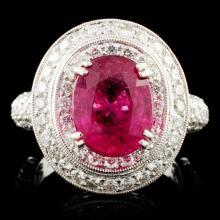 18K Gold 3.09ct Tourmaline & 2.00ctw Diamond Ring