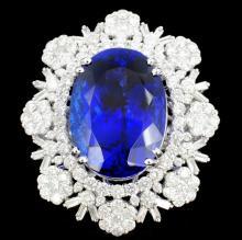 18K Gold 23.15 Tanzanite & 4.74ct Diamond Ring
