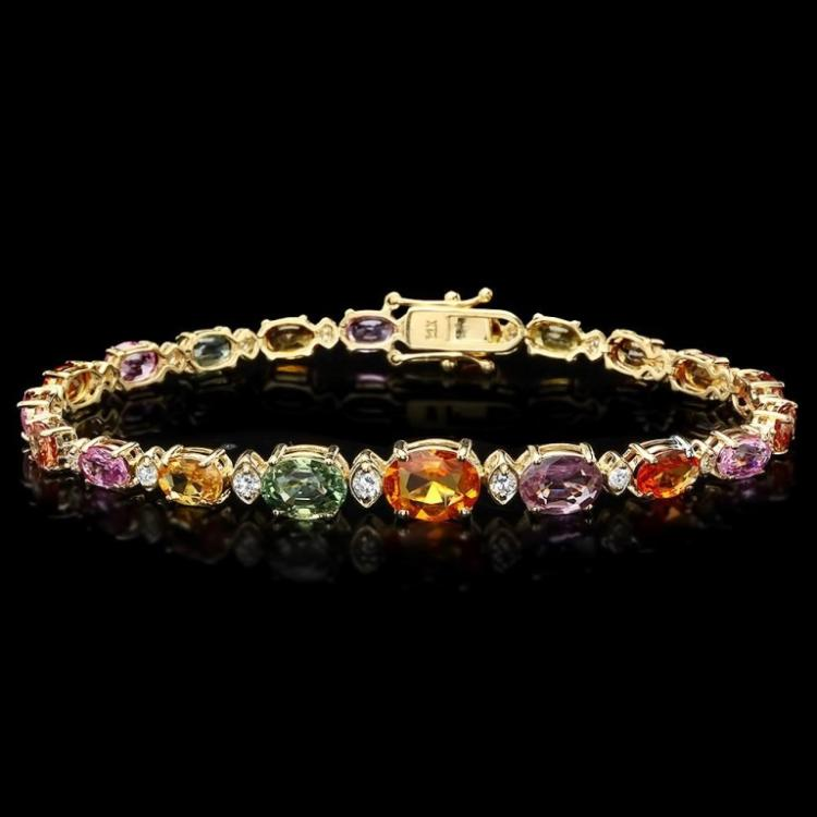 `14k Gold 15.00ct Sapphire & 0.70ct Diamond Bracel