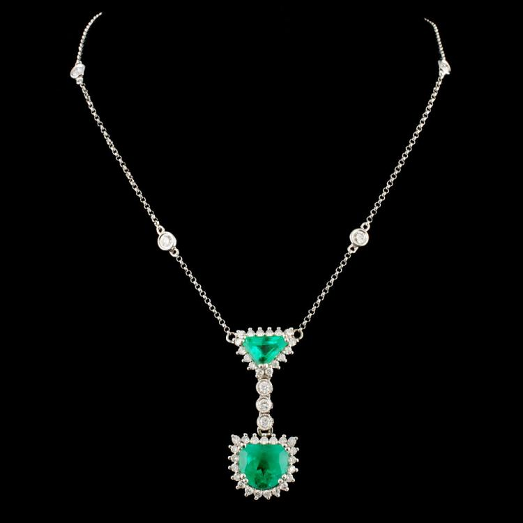 18K Gold 3.03ct Emerald & 1.50ctw Diamond Necklace
