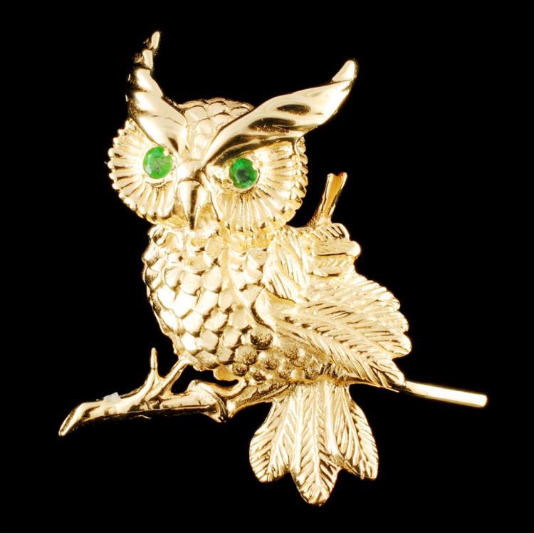 14K Gold 0.12ctw Emerald Brooch
