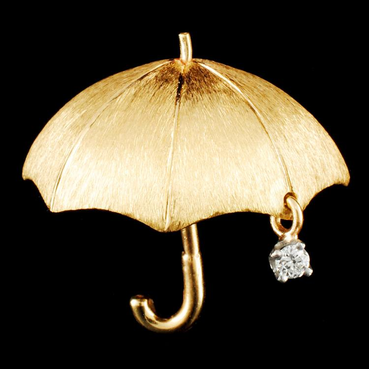 14K Gold 0.03ctw Diamond Brooch