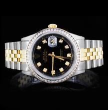 Rolex YG/SS DateJust Men's 1.00ct Diamond Watch