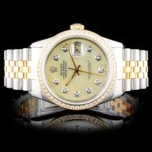 Rolex TwoTone DateJust 1.00ct Diamond Wristwatch