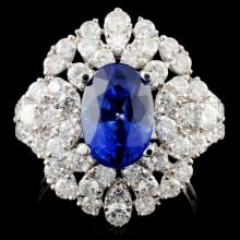 18K Gold 3.00ct Sapphire & 1.90ctw Diamond Ring