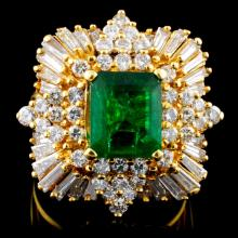 18K Gold 3.00ct Emerald & 2.57ctw Diamond Ring