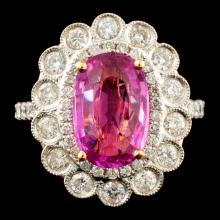 18K Gold 3.01ct Sapphire & 0.97ctw Diamond Ring