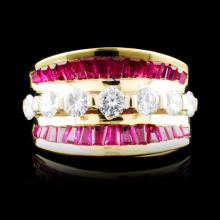 18K Gold 4.32ct Ruby & 1.09ctw Diamond Ring