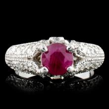 14K White Gold 1.03ct Ruby & 1.12ct Diamond Ring