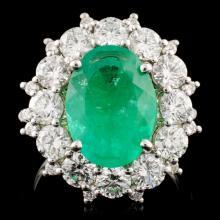 18K Gold 3.72ct Emerald & 2.61ctw Diamond Ring