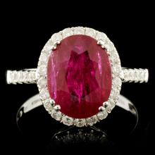 18K Gold 3.86ct Ruby & 0.39ctw Diamond Ring