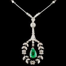14K Gold 2.58ct Emerald & 2.00ctw Diamond Necklace